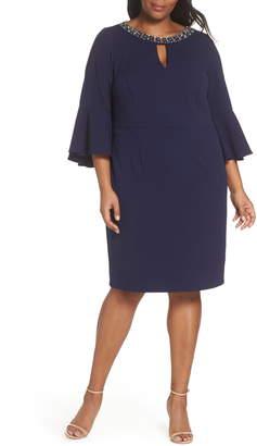 Vince Camuto Embellished Neck Sheath Dress