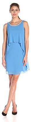 S.L. Fashions Women's Pearl Trimmed Keyhole Back Solid Chiffon Dress