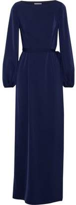 Mikael Aghal Layered Satin And Lace Maxi Dress