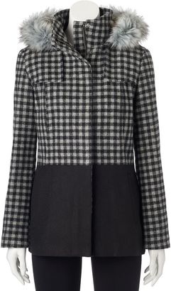 Juniors' Pink Envelope Faux-Fur Checked Wool Jacket $120 thestylecure.com