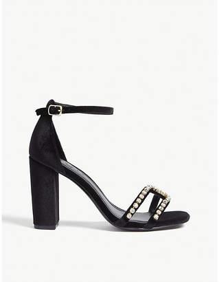 Sandro Lea crystal-embellished velvet sandals