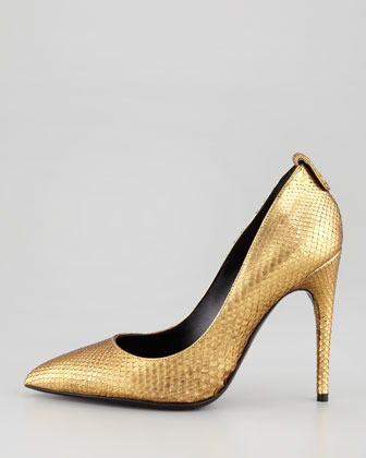 Tom Ford Metallic Python Pointed-Toe Pump