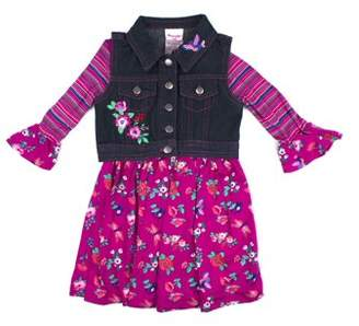Nannette Printed Jersey Dress and Embroidered Denim Vest 2-Piece Set (Little Girls)