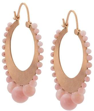Irene Neuwirth 18kt rose gold and pink opal hoop earrings