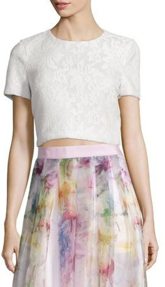 Ted Baker London Maire Short-Sleeve Lace Crop Top, White $225 thestylecure.com