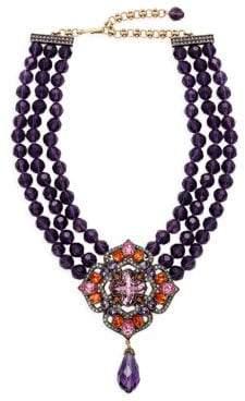 Heidi Daus Three-Strand Rhinestone Floral Cross Collar Necklace