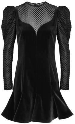 Valentino Black Puff-sleeve Velvet Dress