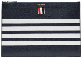 Thom Browne Navy Small Four Bar Zipper Tablet Holder
