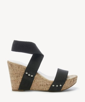 Sole Society Women's Analisa Platform Wedges Black Size 5 Linen Elastic From