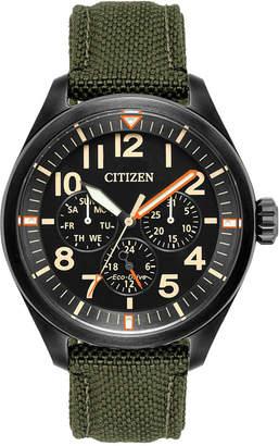 Citizen Men's Eco-Drive Military Green Nylon Strap Watch 42mm BU2055-16E $275 thestylecure.com