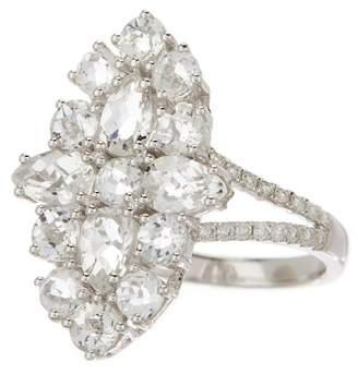 Meira T 14K White Gold Topaz & Diamond Cluster Ring