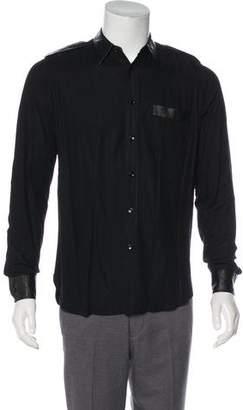 Saint Laurent Satin Lambskin-Trimmed Shirt