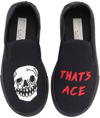 Stella McCartney Skull Cotton Canvas Slip-On Sneakers