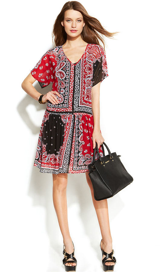 MICHAEL Michael Kors Printed Drop-Waist Dress