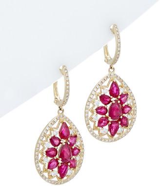 Diana M Fine Jewelry 14K 4.75 Ct. Tw. Diamond & Ruby Earrings