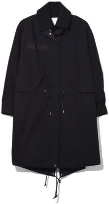Sacai Cotton Nylon Oxford Coat in Black