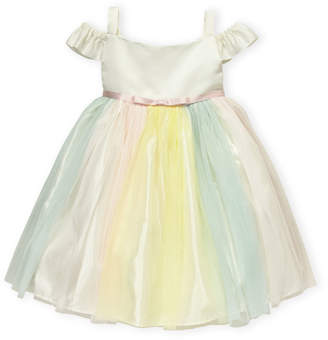Princess Faith (Girls 4-6x) Rainbow Off-the-Shoulder Dress
