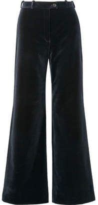 Acne Studios Cotton-velvet Wide-leg Pants - Midnight blue