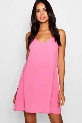 boohoo Pia Plunge Front Woven Cami Dress