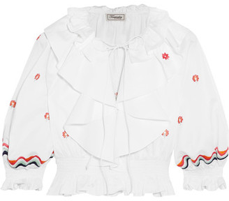 Spellbound Cropped Embroidered Cotton Top - White