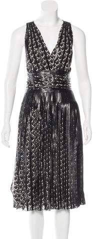 Ralph Lauren Collection Sleeveless Leather-Accented Dress w/ Tags