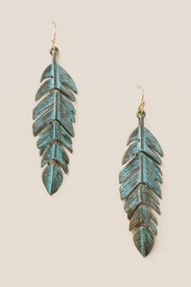 francesca's Bekka Patina Feather Earrings - Turquoise