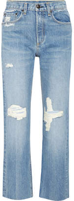 Rag & Bone Distressed High-rise Straight-leg Jeans - Mid denim