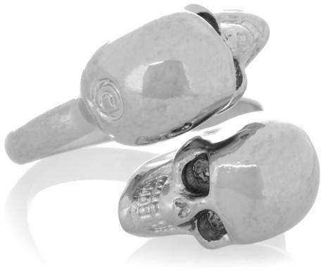 Alexander McQueen Silver-tone Swarovski crystal skull ring