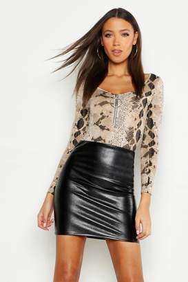 boohoo Tall Mock Croc PU Mini Skirt
