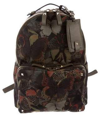 Valentino Medium CamuButterfly Nylon Rockstud Backpack