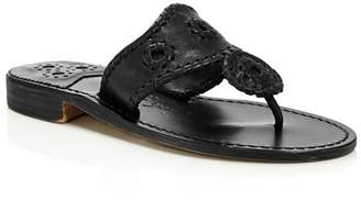 Jack Rogers Women's Natural Jacks Leather Thong Sandals