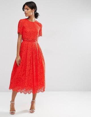 ASOS Lace Crop Top Midi Prom Dress $113 thestylecure.com