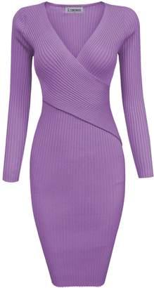 Toms Tom's Ware Womens Stylish Surplice Wrap Bodycon Knit Midi Dress TWCWD157-L-CA