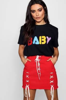 boohoo Colour Print Baby Slogan Tee