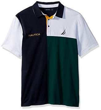 Nautica Men's Short Sleeve Classic Fit Heavy Jersey Color Block Polo Shirt