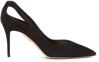 Aquazzura Shiva 85 Cut Out Suede Pumps - Womens - Black