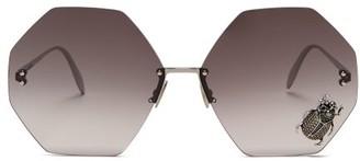 Alexander McQueen Oversized Beetle Embellished Metal Sunglasses - Womens - Grey Silver