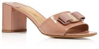 Salvatore Ferragamo Women's Eolie Patent Leather Block Heel Slide Sandals