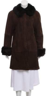 Halston Shearling Suede Knee-Length Coat
