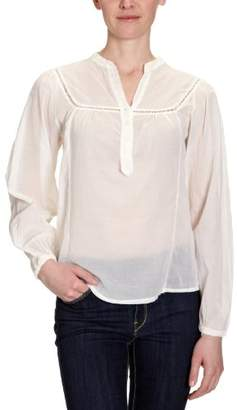 Cross Jeans Women's Mao 3/4 sleeve Blouse - White - Weiß (off white) - (Brand size: M)