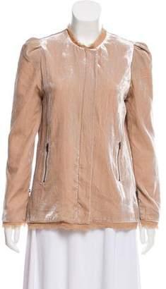 LoveShackFancy Velvet Collarless Jacket