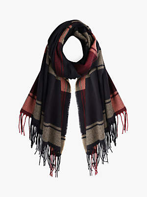 Hush Libby Check Scarf, Black/Red/Biscuit