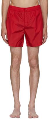 mens red moncler swim shorts