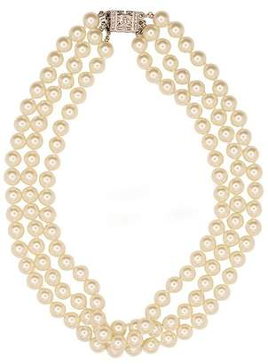 Kenneth Jay Lane Pearl Deco Clasp Jackie O Necklace