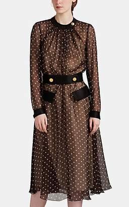 Prada Women's Polka Dot Silk Chiffon Midi-Dress - Brown