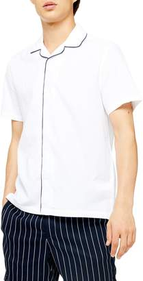 Topman Piped Seersucker Short Sleeve Button-Up Shirt