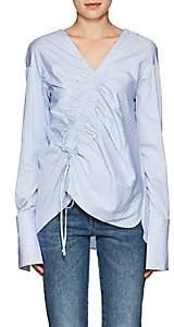 Teija Women's Smocked Striped Cotton Blouse-Blue Stripe 002