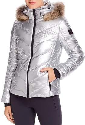 Bogner Sassy 2 Fur-Trim Metallic Down Coat