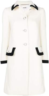 Miu Miu button embellished contrast-trim coat