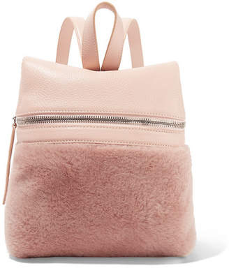 Kara Small Textured-leather And Shearling Backpack - Antique rose
